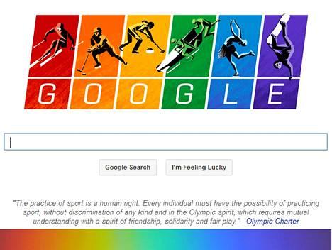 Googlen talviolympialaisiin viittaava hakusivun grafiikka lähettää viestin sateenkaaren väreillä.