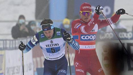 Joni Mäki tuli maaliin ennen Aleksandr Bolshunovia.