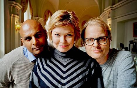 Hypen Tino Singh, Micaela Fagerholm-Valkama ja Paavo Kerosuo nykyään.