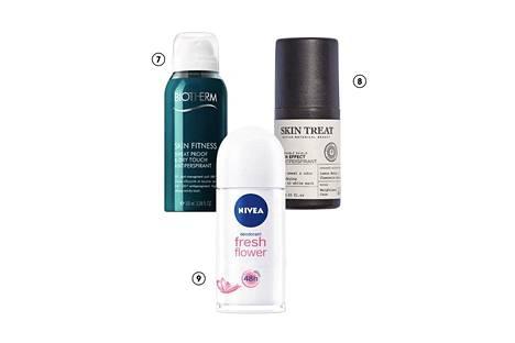 7. Biothermin Skin Fitness -deosuihkeessa on mukana sinkkiä, joka hillitsee kainaloiden hajuja muodostavien bakteerien kasvua. Deo-antiperspirantti on tarkoitettu erityisesti urheiluun, ja se sopii myös herkälle iholle, 20 €. 8. Skin Treatin alkoholiton antiperspirantti on oiva välimuoto: mukana on kosteuttavia luonnonöljyjä, mutta puikko blokkaa tehokkaasti hikoilun, 5,90 €. 9. Nivea on klassikko. Tuoreimpien tulokkaiden joukossa on alumiiniton, raikkaan kukkaistuoksuinen FreshFlower Deo Roll-On -puikko, 2,55 €.