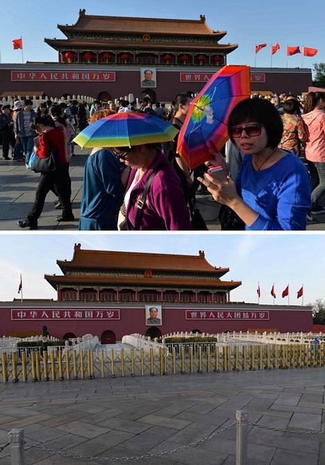 Taivaallisen rauhan aukio Pekingissä oli huhtikuussa 2013 täynnä ihmisiä. Maaliskuussa 2020 aukiolla ei näy ristin sielua.