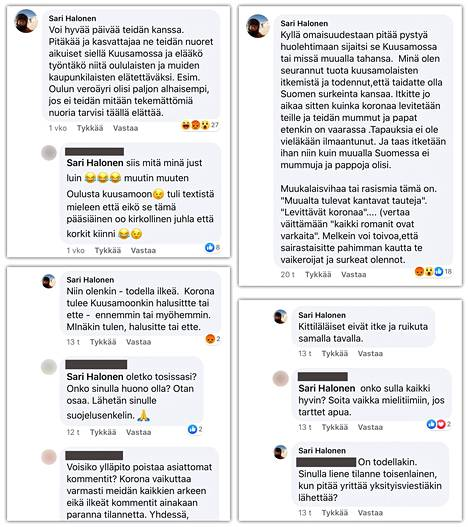 Kuvankaappauksia Oulun kaupunginvaltuutetun Sari Halosen kommenteista Kuusamossa puhutaan -ryhmästä.