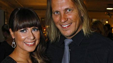 Mirkka Torikka ja Sami Kuronen yhdessä Fifty Shades of Grey -elokuvan ensi-illassa helmikuussa 2015.