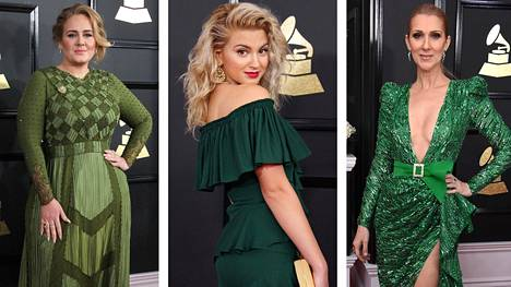 Adele, Tori Kelly ja Celine Dion valitsivat Grammyissa päälleen vihreää.