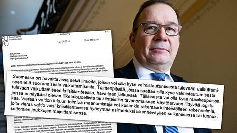 Lausunnon allekirjoittajana oli Suojelupoliisin päällikkö Antti Pelttari.