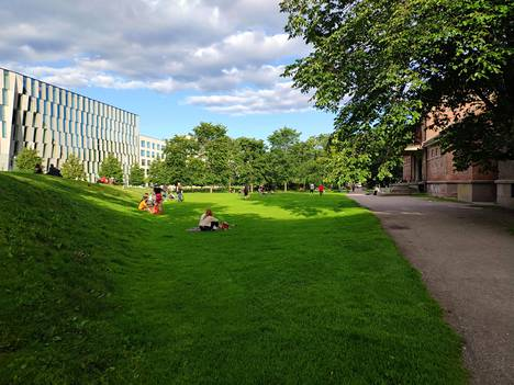 Dallapénpuistossa oli jonkin verran ihmisiä viettämässä kesäiltaa, mutta turvaväleistä pidettiin kiinni hyvin.