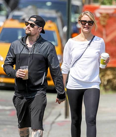 Cameron Diaz ja Benji Madden tiistaina New Yorkissa.