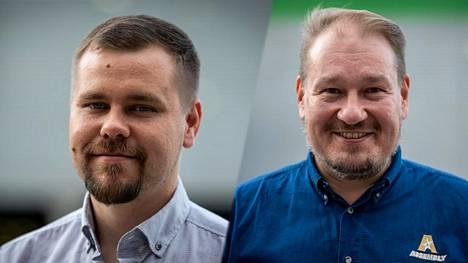 Petri Hämälä (vasemmalla) on ENCEn enemmistöomistaja. Pekka Aakko omistaa yrityksensä kautta toiseksi eniten.