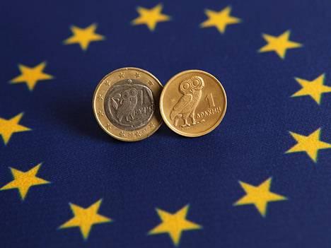 Kreikkalainen euro ja vanha drakman kolikko