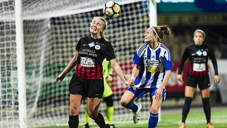 PK-35 Vantaan Roosa Toivanen ja HJK:n Essi Sainio kohtasivat kauden päätösottelussa.