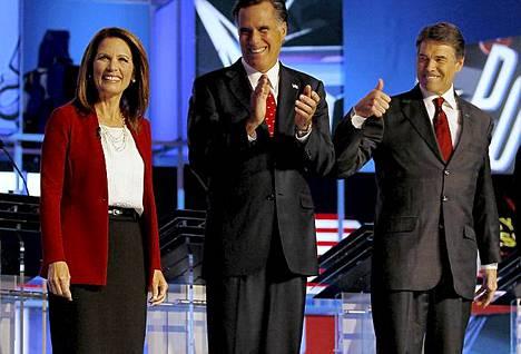 Michele Bachmann, Mitt Romney ja Rick Perry väittelivät Floridassa.