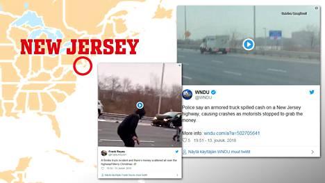 """Arvokuljetusauto """"vuoti"""" seteleitä valtatielle kesken aamuruuhkan – liikenteen seassa juoksennelleet ihmiset aiheuttivat useita kolareita"""