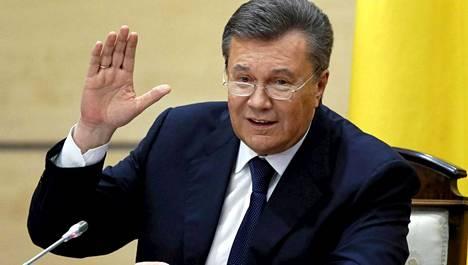 Ukrainan entinen presidentti Viktor Janukovitsh tiedotustilaisuudessaan 28. helmikuuta.
