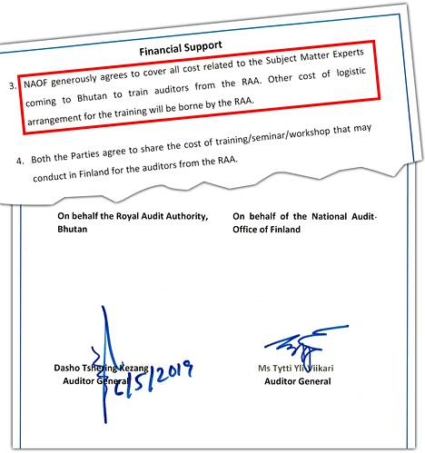 VTV:n ja Bhutanin tarkastusviraston yhteisymmärrysasiakirja allekirjoitettiin toukokuussa 2019. Viisivuotinen sopimus uusitaan automaattisesti, ellei jompikumpi osapuoli halua irtisanoa sopimusta. Bhutanin tarkastusviraston pääjohtajalle annettiin vierailun yhteydessä lahjaksi 150 euroa maksanut Jokihelmi-vati.