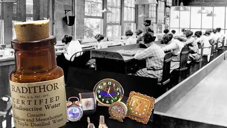 Nykyään kellojen hohtava maali ei sisällä radioaktiivisia aineita. 1900-luvun alussa radium oli kuitenkin tyypillinen pimeässä loistavan maalin raaka-aine. Kuvassa oleva Radithor-pullo kertoo toista tarinaa ajan suhtautumisesta säteilyyn – äärimmäisen vaarallista ainetta myytiin terveystuotteena vitamiinin tapaan.
