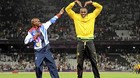 Kisojen suuret sankarit. Isolle-Britannialle kaksi kultaa juossut Mo Farah ja Jamaikalle kolme kultaa kipittänyt Usain Bolt.
