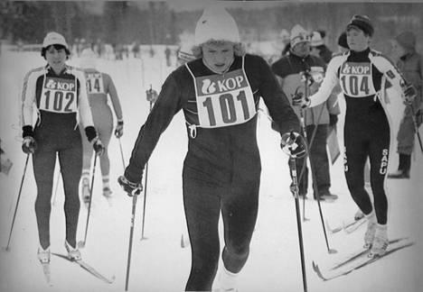 Marja-Liisa Hämäläinen SM-hiihdoissa 1982.