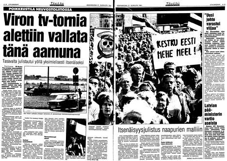 Ilta-Sanomat kertoi Viron tapahtumista 21.8.1991 ilmestyneessä lehdessä.
