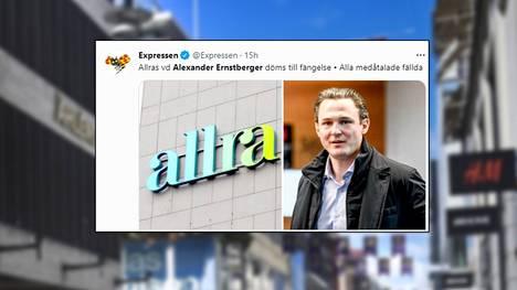 Allra-eläkeyhtiön entinen toimitusjohtaja Alexander Ernstberger tuomittiin torstaina kavalluksesta kuuden vuoden vankeuteen.