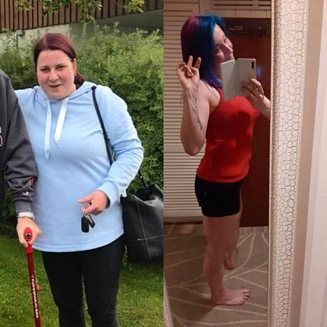 Anna-Karolina ennen ja jälkeen elämäntaparemontin.