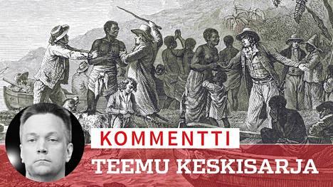 """Kohu nousi, kun Teemu Keskisarja mainitsi yleisötilaisuudessa sanan """"neekeri"""" puhuessaan Afrikan kolonialismia koskevasta ajasta."""