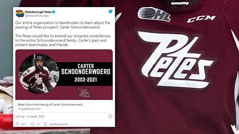 Peterborough Petesin pelaaja Carter Schoonderwoerd menehtyi vain 19-vuotiaana.
