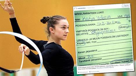 Ekaterina Volkova jatkaa kouluopintoja Rion olympialaisten päätyttyä.