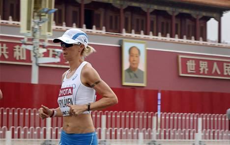 Anne-Mari Hyryläinen pääsi viimeisenä suomalaisurheilijana tositoimiin Pekingin MM-kisoissa.