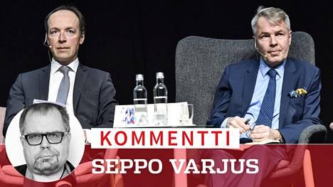 Jussi Halla-aho (vas.) ja Pekka Haavisto.