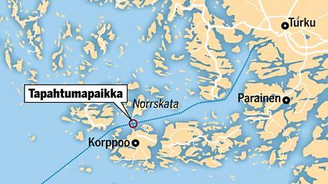 Tapahtumapaikka sijaitsee Korppoon ja Norrskatan välillä.