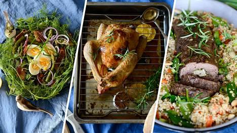 Pääsiäispöydässä on tänä vuonna kaunis ja ruokaisa parsasalaatti, herkku broilerista ja lammasmureke.