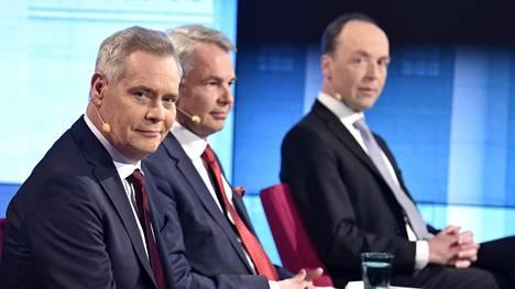 Antti Rinne, Pekka Haavisto ja Jussi Halla-aho Ylen vaalitentissä.
