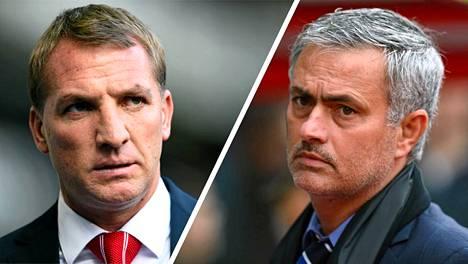 Brendan Rodgers luotsaa Liverpoolia, Jose Mourinho Chelseaa.