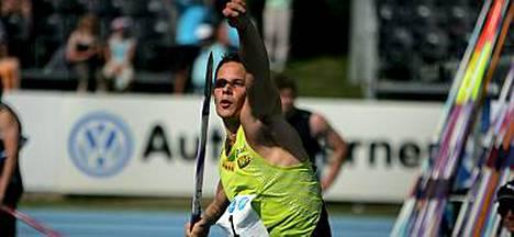 Tero Pitkämäki voitti miesten keihäskisan viime kesän Kalevan kisoissa Lappeenrannassa.