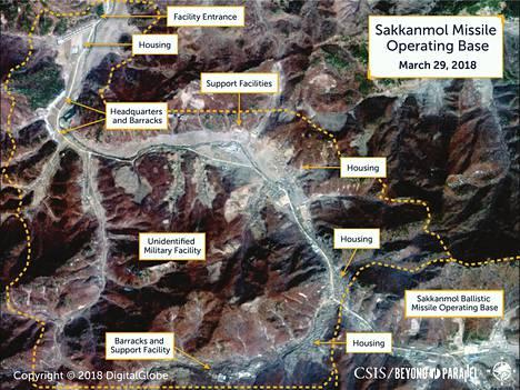 Toinen satelliittikuva Sakkanmolin ohjustukikohdasta Pohjois-Koreassa.