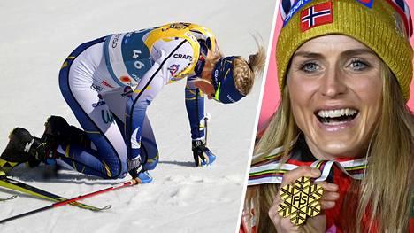 Ruotsalaiset pettyivät torstain viestissä. Therese Johaug (oik.) pääsi juhlimaan kisojen kolmatta kultaansa.