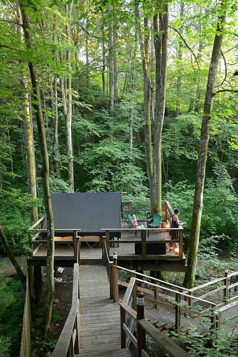 Garden Village Bled -ekoresortissa majoitutaan luonnon helmassa. Pihamaalla on pieni uima-allas ja ravintolassa tarjotaan luomuruokaa.