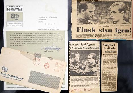 Niin suomalaiset kuin ruotsalaiset lehdet kirjoittivat Ulf Silfverbergistä syyskuun alussa 1965. Kuvassa myös Ruotsin yleisurheiluliiton kirje, jossa luvataan korvata Silfverbergin kärsimät vahingot.