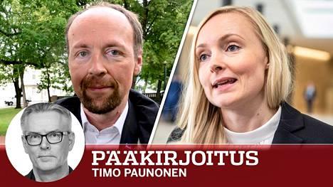 Perussuomalaisten puheenjohtaja Jussi Halla-aho uskoo kahteen valtakeskittymään tulevaisuuden suomalaisessa politiikassa. Vihreiden puheenjohtaja, ministeri Maria Ohisalo luotsaa mielipidekyselyjen mukaan vahvistuvaa puoluetta.