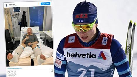 Hiihtäjä Lauri Vuorinen julkaisi kuvan sairaalasta.