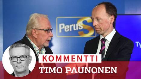 Perussuomalaisten parivaljakko Matti Putkonen ja Jussi Halla-aho Työmiehen tuumaustunnilla.