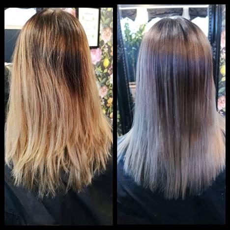 Nainen meni lopulta luottokampaajalleen, joka pelasti tilanteen ja sai hiukset hopeiksi.