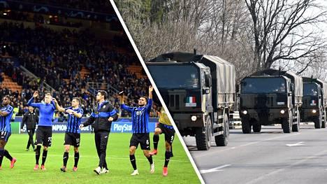 Atalanta pelasi 19. helmikuuta Milanossa. Nyt tunnelmat Bergamossa ovat lohduttomat.