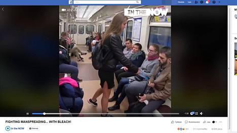 Manspreading-videota on katsottu 6,6 miljoonaa kertaa ja se on jaettu lähes 50 000 kertaa. Kuvakaappaus Facebookista.