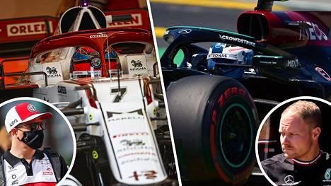 Kimi Räikkönen ja Valtteri Bottas Barcelonassa.