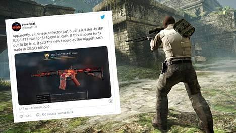 Counter-Strike-pelissä oleva skini eli aseen ulkoasu myytiin arviolta 100000 dollarilla. Kuvakaappaus Twitteristä.