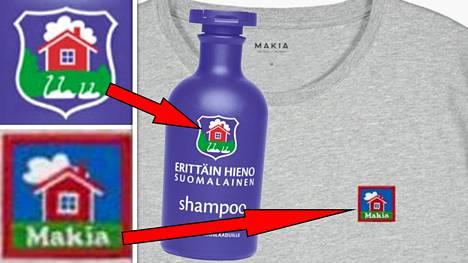 Makian paitalogo ja Orklan shampoopullon logo vertailussa.