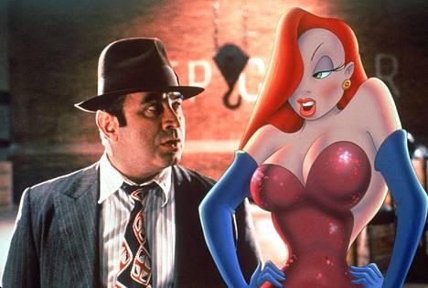 Jessica Rabbit on tuttu Kuka viritti ansan, Roger Rabbit? -elokuvasta. Vierellä Bob Hoskins.