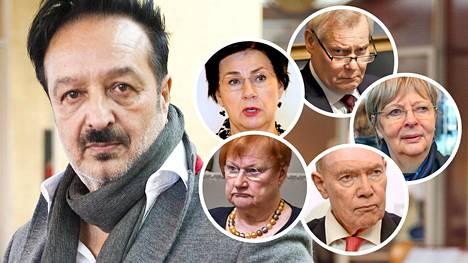 Ihmiskaupasta epäillyllä Veijo Baltzarilla oli lämpimät suhteet lukuisiin eturivin suomalaispoliitikkoihin yli puoluerajojen. Kuvassa Baltzarin lisäksi Tarja Halonen, Paavo Lipponen, Liisa Jaakonsaari, Antti Rinne ja Anita Lehikoinen.