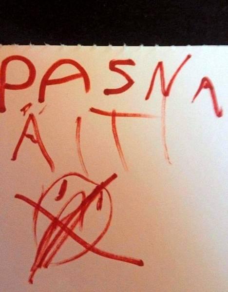 Tärkeä infolappunen vanhempaansa pettyneeltä 5-vuotiaalta.  Heidi Reunanen